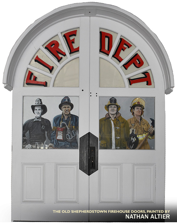 Shepherdstown Firehouse Doors Painted by Nathan Altier